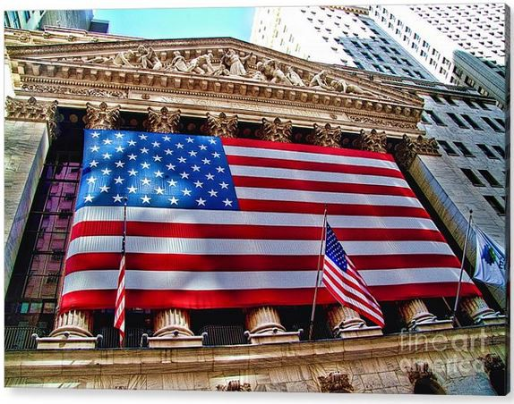 New York Stock Exchange With Us Flag by David Smith
