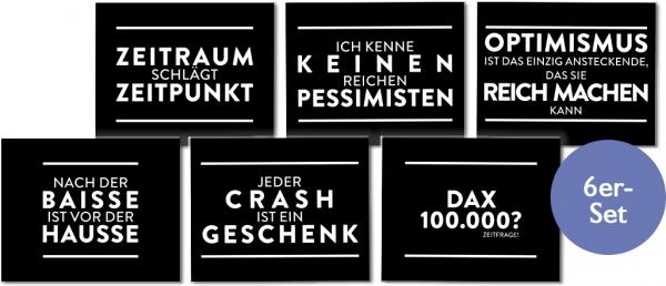 """Metallschilder """"Börsenweisheiten"""" Sechser-Set"""