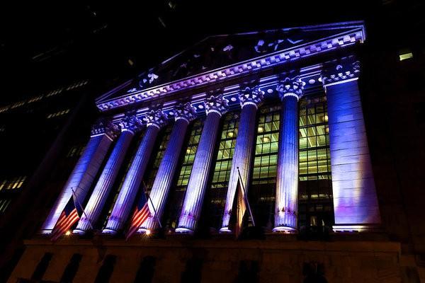 Purple New York Stock Exchange at Night